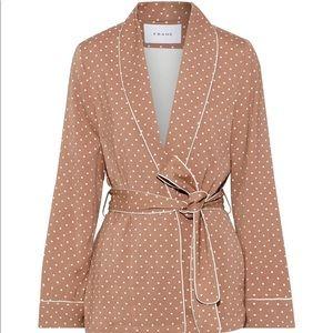 FRAME Belted polka-dot cady jacket